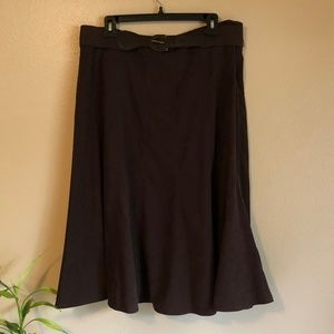 Roz & Ali Brown Faux Suede Skirt with Belt Sz 14